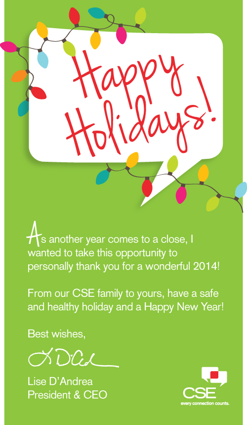 HAPPY HOLIDAYS FROM CSE